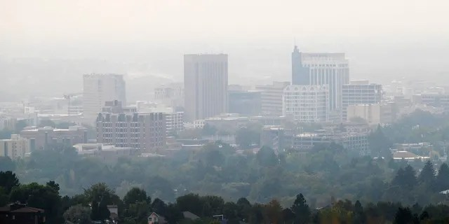 Smoke from western state wildfires is flowing into Idaho where an unhealthy air quality warning was issued in Boise, Idaho, Monday, Sept. 14, 2020, by the Idaho Department of Environmental Quality for this week.