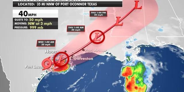 The forecast track of Tropical Storm Beta