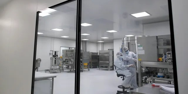 Laboratory technicians work at the mAbxience biopharmaceutical company on an experimental coronavirus vaccine developed by Oxford University and the laboratory AstraZeneca in Garin, Argentina.