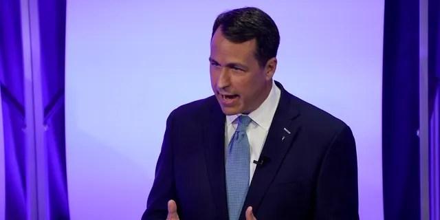 Democratic challenger Cal Cunningham speaks during a televised debate with U.S. Sen. Thom Tillis, R-N.C. Thursday, Oct. 1, 2020, in Raleigh, N.C. (AP Photo/Gerry Broome, Pool)