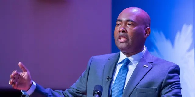 Democratic challenger Jaime Harrison speaks during the South Carolina U.S. Senate debate with Sen. Lindsey Graham, R-S.C., at Allen University in Columbia, S.C., Saturday, Oct. 3, 2020. (Joshua Boucher/The State via AP)