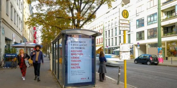Similar text ads will continue to appear throughout the city, visited Berlin.