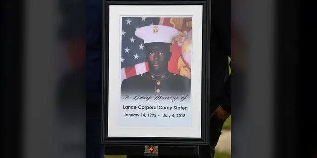 A photo depicting Lance Cpl. Corey Staten is displayed during an Award Ceremony held by 4th Combat Engineering Battalion in Baltimore, Oct. 24, 2020. (U.S. Marine Corps photo by Lance Cpl. Dylon Grasso)