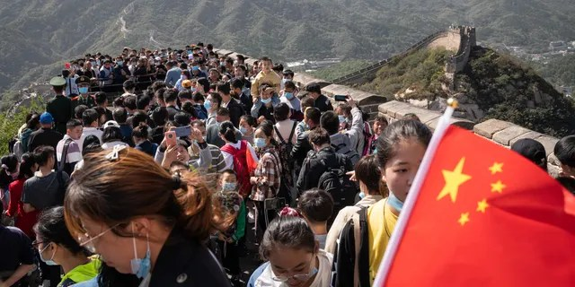 Visitors invade the Badaling section of the Great Wall in Beijing, China on October 1 (Yan Cong / Bloomberg via Getty Images)