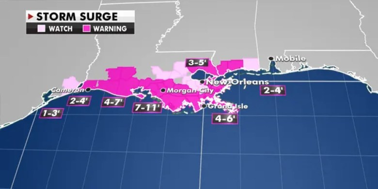 Anticipated storm surge from Hurricane Delta.