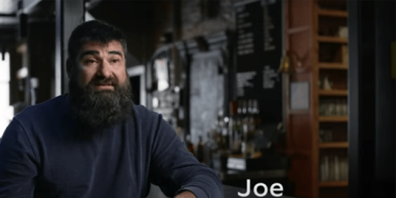The Blind Pig co-owner, Joe Malcoun, seen in a recent TV ad released by Joe Biden's presidential campaign.