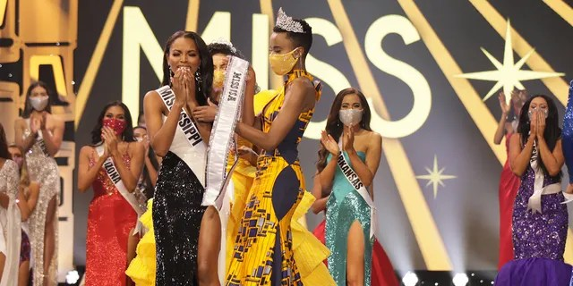 Asya Branch, Miss Mississippi USA 2020, is announced Miss USA 2020 winner, on stage with Cheslie Kryst, Miss USA 2019, and Zozi Tunzi, Miss Universe 2019, at the Miss USA Competition, on November 7, 2020, at Graceland in Memphis Tennessee.