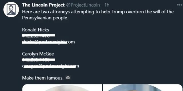 Lincoln Project tweet (FNC screenshot)