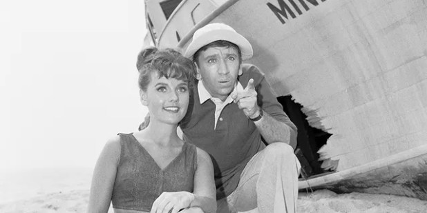Members of 'Don Giles Island' appearing in the pilot episode, from left, Don Wells (as Mary Ann Summers) and Bob Denver (as First Mate Gilligan).
