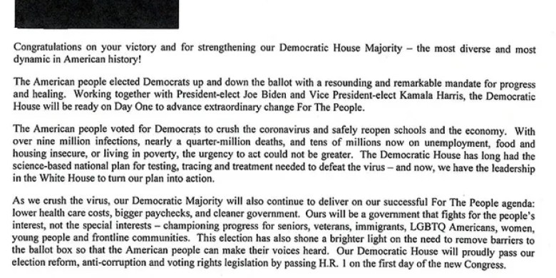 House Speaker Nancy Pelosi (D-Calif.) sends a letter to her colleagues on Nov. 5, 2020, to formally announce her intention to run for speaker again. She asks House Democrats for their support.