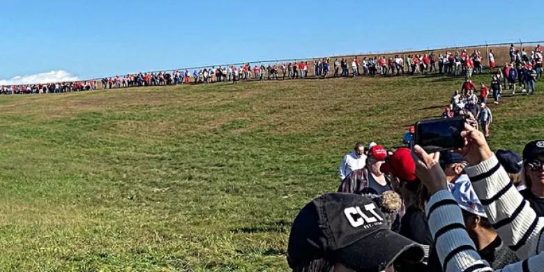 Long lines at Trump's North Carolina rally. (Fox News)
