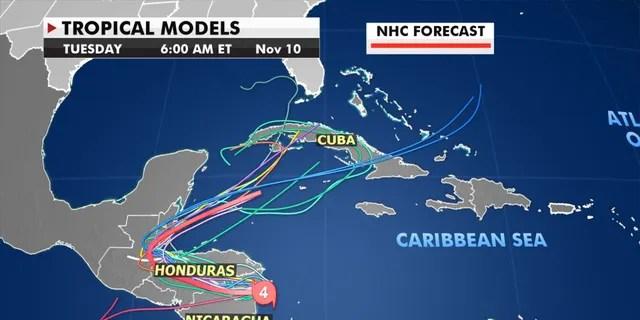 Forecast models show where Eta could go next.