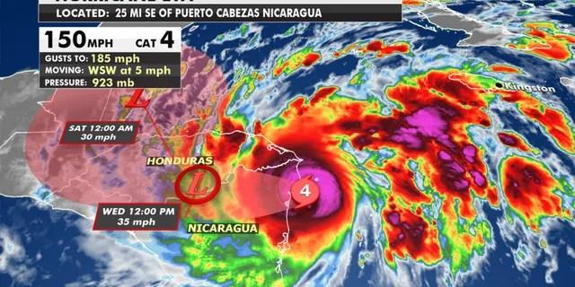 The forecast track of Hurricane Eta.
