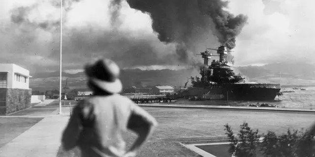 American ships burn during the Japanese attack on Pearl Harbor, Hawaii, on Dec. 7, 1941.