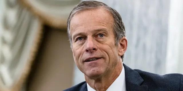 Sen. John Thune, R-S.D., speaks during a Senate Transportation subcommittee hybrid hearing on transporting a coronavirus vaccine on Capitol Hill, Thursday, Dec. 10, 2020, in Washington. (Samuel Corum/The New York Times via AP, Pool)