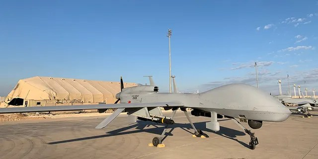 U.S. Army drones are seen at the Ain al-Asad airbase in the western Iraqi province of Anbar, Jan. 13, 2020. (Getty Images)
