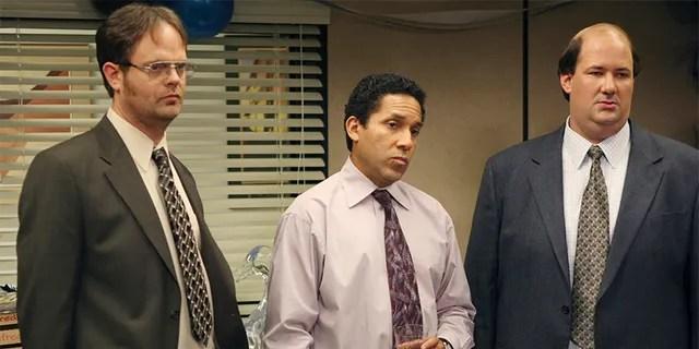 From left: Rainn Wilson as Dwight Schrute, Oscar Nunez as Oscar Martinez and Brian Baumgartner as Kevin Malone in 'The Office.'