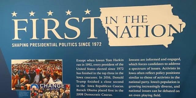FILE - The Iowa Caucuses exhibit in Des Moines, Iowa