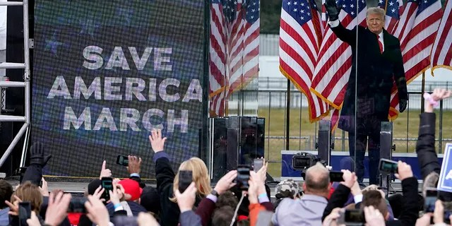 """President Donald Trump arrives to speak at a rally Wednesday, Jan. 6, 2021, in Washington. Shortly after, a pro-Trump mob stormed the U.S. Capitol, forcing lawmakers and Vice President Pence into hiding. Federal prosecutors said Trump's supporters aimed to """"capture and assassinate"""" elected officials. (AP Photo/Jacquelyn Martin)"""