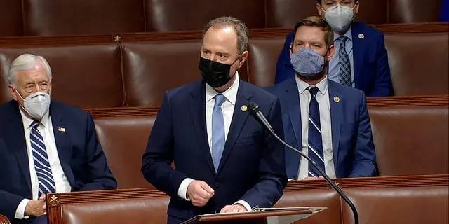 In this image from video, Rep. Adam Schiff, D-Calif., speaks as the House debates the objection to confirm the Electoral College vote from Pennsylvania, at the U.S. Capitol early Thursday, Jan. 7, 2021. (House Television via AP)
