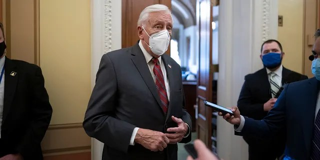 House Majority Leader Steny Hoyer, D-Md., talks to reporters just outside the House chamber after a resolution calling for the removal of President Donald Trump from office was blocked by Republicans, at the Capitol in Washington, Monday, Jan. 11, 2021. Hoyer repeatedly cited Rep. Liz Cheney, R-Wyo., on Wednesday as he advocated for his Republican colleagues to vote to impeach Trump. (AP Photo/J. Scott Applewhite)