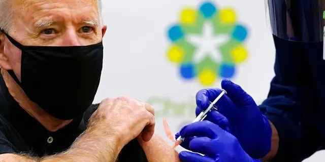 President-elect Joe Biden receives his second dose of the coronavirus vaccine at ChristianaCare Christiana Hospital in Newark, Del., Monday, Jan. 11, 2021. (Associated Press)