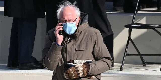 Sanders has apparently been wearing the mittens -- made by a teacher from Essex Junction, Vt. -- for several years. (Associated Press)
