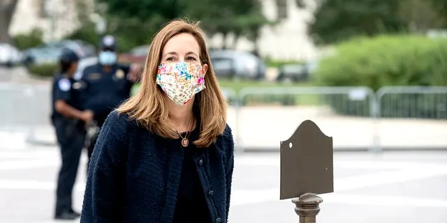 Rep. Mikie Sherrill, D-N.J., walks up the House steps for a vote in the Capitol on Thursday, Sept. 17, 2020. (Photo By Bill Clark/CQ-Roll Call, Inc via Getty Images)