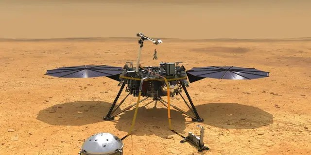 This illustration shows NASA's InSight spacecraft with its instruments deployed on the Martian surface. (Credit: NASA/JPL-Caltech)