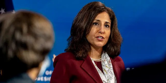 In this Dec. 1, 2020, file photo President-elect Joe Biden's nominee to serve as Director of the Office of Management and Budget Neera Tanden speaks at The Queen theater in Wilmington, Del. (AP Photo/Andrew Harnik, File)
