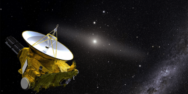 The artist's depiction shows NASA's new Horizons spacecraft in the outer solar system.  In the background is the sun and a glowing band that represents the light of the zodiac due to the sunlight reflected from the smoke.  Traveling further through the inner solar system and the accompanying light pollution, New Horizon was able to answer the question: How dark is space?  In the lower right are the background stars of the galaxy.  (Credit: J Ol Olmsted)