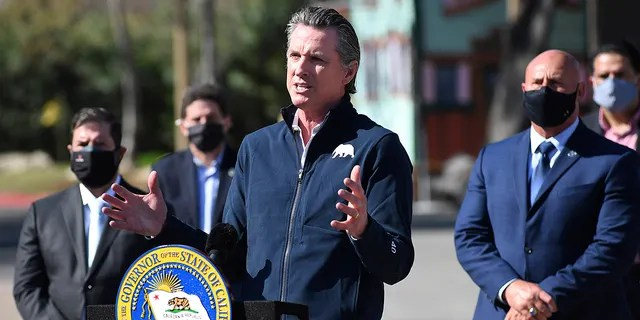 California Gov. Gavin Newsom, center, gestures in front of local officials while speaking about COVID-19 vaccines at the Fresno Fairgrounds, Wednesday, Feb. 10, 2021, in Fresno, Calif. (John Walker/The Fresno Bee via AP)