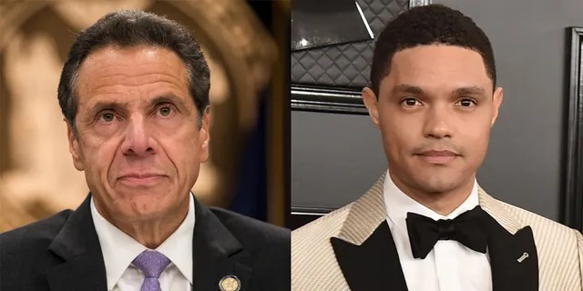Trevor Noah (right) slammed New York Gov. Andrew Cuomo over his administration's misreporting of coronavirus death numbers in nursing homes and sexual harassment claims.