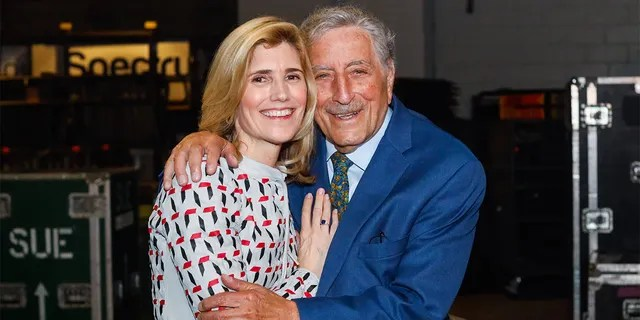 Tony Bennett and Susan Crowe backstage at the 63rd sold-out show at Billy Joel's residence at Madison Square Garden in New York City on April 12, 2019.