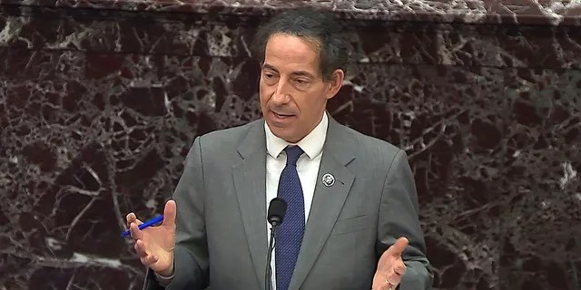 In this image from video, House impeachment manager Rep. Jamie Raskin, D-Md., speaks during the second impeachment trial of former President Donald Trump in the Senate at the U.S. Capitol in Washington, Wednesday, Feb. 10, 2021.
