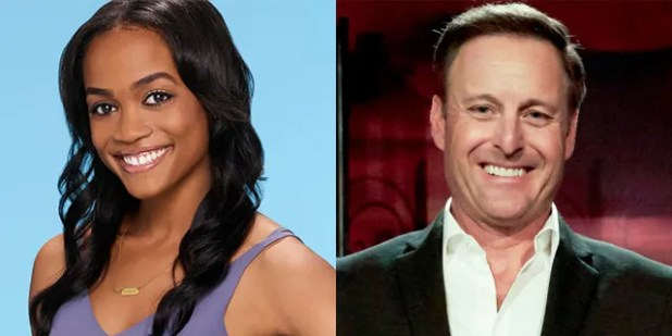 'Bachelor' host Chris Harrison (right) conducted an interview with former 'Bachelorette' Rachel Lindsay (left) who received a lot of backlash for her comments about a contestant attending a pre-war themed party of the Old South on a plantation in 2018.