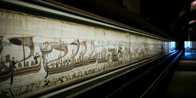 This file photo, taken on September 18, 2019, describes a large portion of the 11th-century Bayeux Tapestry based on the Norman Conquest in Normandy, France, Norman, England.  (AP photo / Kamil Jihinoglu, file)