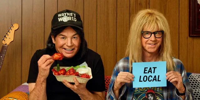 'Wayne World' stars Myers Myers and Dana Caraway reprise their roles for the Uber Eats 2021 Super Bowl NFL football spot.  (Uber eats via AP)