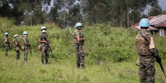 UN peacekeepers defend the region where the UN convoy was attacked and the Italian ambassador was killed in Congo, North Kivu Province, Congo, Monday, February 22, 2021. (AP Photo / Justin Kabaka)
