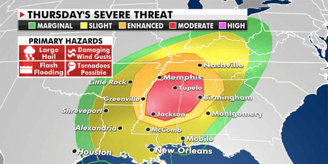 On Thursday, severe storms will break out across the deep south and shift towards the Tennessee Valley. (Fox News)