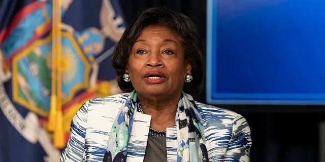 New York state Senate Majority Leader Andrea Stewart-Cousins speaks in New York City, June 12, 2020. (Reuters)