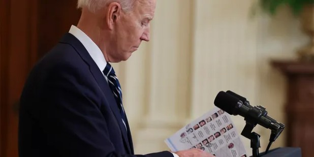 President Joe Biden speaks during the first formal press conference of his presidency in the East Room of the White House in Washington, DC on Thursday, March 25, 2021. † (Photo by Oliver Contreras / Sipa USA) No Use Germany.