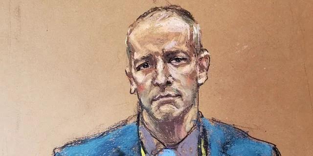 This sketch shows Derek Chauvin in Hennepin County court