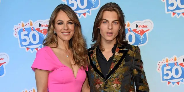 UK actress Elizabeth Liz Hurley and her son Damian Hurley during the 50th anniversary celebration of the brand Kinder (Ferrero) at Heidepark on October 14, 2018 in Soltau, Germany.
