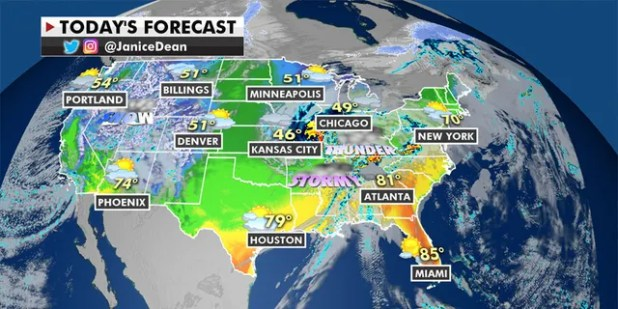 Warmer-than-average temperatures will sweep across the eastern U.S. (Fox News)