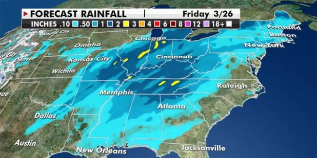 The system will then switch to the Mid-Atlantic and Northeast on Friday (Fox News)