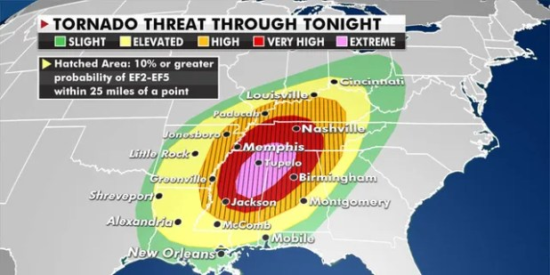 The strongest storms will hit three states (Fox News)