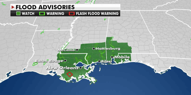 On Wednesday, flood advisories remain issued from Louisiana to the Florida Panhandle. (Fox News)