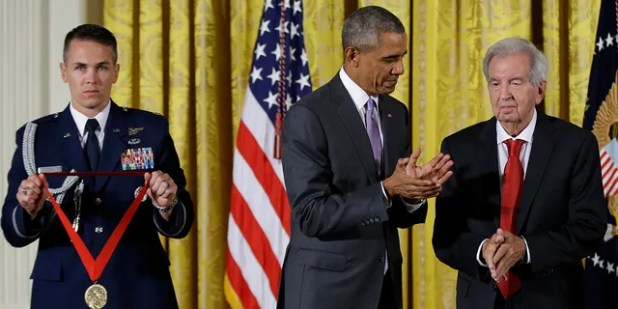 President Barack Obama prepares to award the 2014 National Humanities Medal to novelist, essayist, and screenwriter Larry McMurtry during a ceremony at the White House in Washington on Sept. 10, 2015. (AP Photo / Manuel Balce Ceneta, file)
