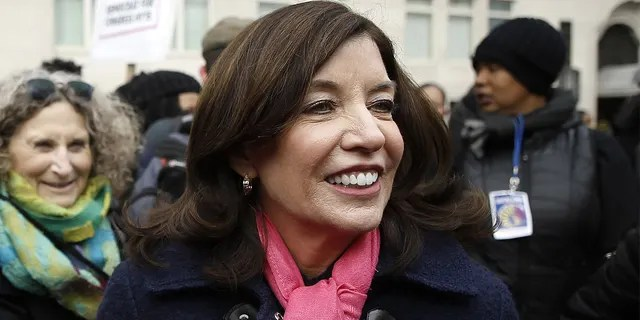 Lieutenant Governor of New York Kathy Hochul partcipates in the 2020 Women's March in New York City.